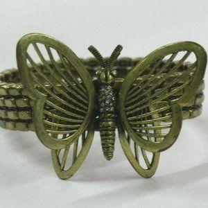 Fossil Butterfly Brass Tone Stretch Bracelet